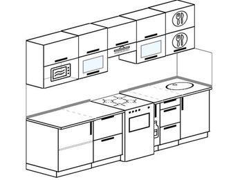 Прямая кухня 5,2 м² (2,6 м), верхние модули 72 см, модуль под свч, отдельно стоящая плита