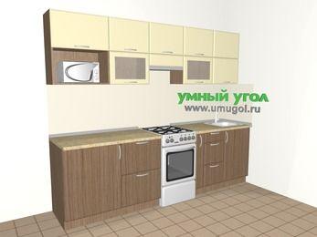 Прямая кухня МДФ матовый 5,2 м², 2600 мм, Ваниль / Лиственница бронзовая, верхние модули 720 мм, модуль под свч, отдельно стоящая плита