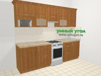 Прямая кухня МДФ матовый в классическом стиле 5,2 м², 260 см, Вишня, верхние модули 72 см, модуль под свч, отдельно стоящая плита