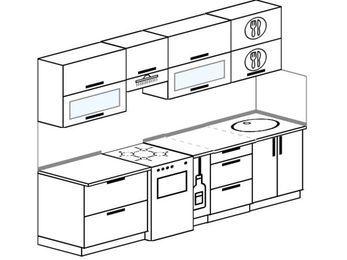 Прямая кухня 5,2 м² (2,6 м), верхние модули 720 мм, отдельно стоящая плита