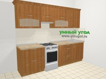 Прямая кухня МДФ матовый в классическом стиле 5,2 м², 260 см, Вишня, верхние модули 72 см, отдельно стоящая плита