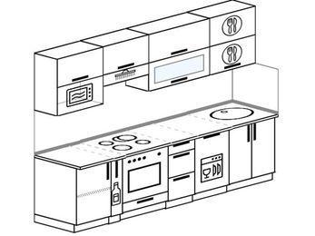 Планировка прямой кухни 5,2 м², 2600 мм: верхние модули 720 мм, корзина-бутылочница, встроенный духовой шкаф, посудомоечная машина, верхний модуль под свч