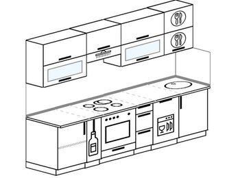 Прямая кухня 5,2 м² (2,6 м), верхние модули 72 см, посудомоечная машина, встроенный духовой шкаф