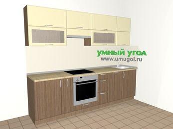 Прямая кухня МДФ матовый 5,2 м², 2600 мм, Ваниль / Лиственница бронзовая, верхние модули 720 мм, посудомоечная машина, встроенный духовой шкаф