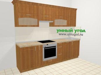 Прямая кухня МДФ матовый в классическом стиле 5,2 м², 260 см, Вишня, верхние модули 72 см, посудомоечная машина, встроенный духовой шкаф