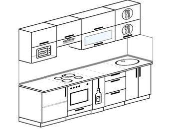 Прямая кухня 5,2 м² (2,6 м), верхние модули 72 см, верхний модуль под свч, встроенный духовой шкаф