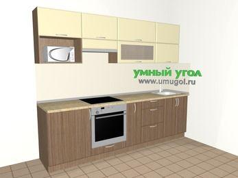 Прямая кухня МДФ матовый 5,2 м², 2600 мм, Ваниль / Лиственница бронзовая, верхние модули 720 мм, верхний модуль под свч, встроенный духовой шкаф
