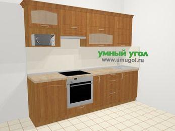 Прямая кухня МДФ матовый в классическом стиле 5,2 м², 260 см, Вишня, верхние модули 72 см, верхний модуль под свч, встроенный духовой шкаф