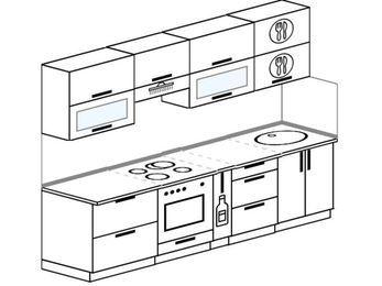 Прямая кухня 5,2 м² (2,6 м), верхние модули 720 мм, встроенный духовой шкаф