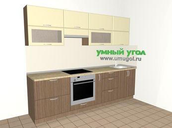Прямая кухня МДФ матовый 5,2 м², 2600 мм, Ваниль / Лиственница бронзовая, верхние модули 720 мм, встроенный духовой шкаф