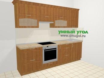 Прямая кухня МДФ матовый в классическом стиле 5,2 м², 260 см, Вишня, верхние модули 72 см, встроенный духовой шкаф