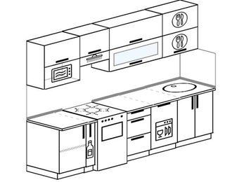 Прямая кухня 5,2 м² (2,6 м), верхние модули 720 мм, посудомоечная машина, верхний модуль под свч, отдельно стоящая плита