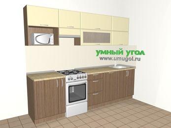 Прямая кухня МДФ матовый 5,2 м², 2600 мм, Ваниль / Лиственница бронзовая, верхние модули 720 мм, посудомоечная машина, верхний модуль под свч, отдельно стоящая плита