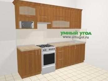 Прямая кухня МДФ матовый в классическом стиле 5,2 м², 260 см, Вишня, верхние модули 72 см, посудомоечная машина, верхний модуль под свч, отдельно стоящая плита