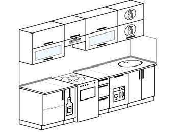 Прямая кухня 5,2 м² (2,6 м), верхние модули 72 см, посудомоечная машина, отдельно стоящая плита