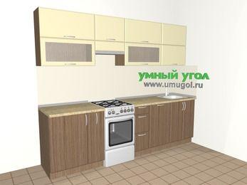 Прямая кухня МДФ матовый 5,2 м², 2600 мм, Ваниль / Лиственница бронзовая, верхние модули 720 мм, посудомоечная машина, отдельно стоящая плита