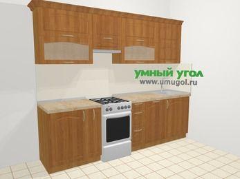 Прямая кухня МДФ матовый в классическом стиле 5,2 м², 260 см, Вишня, верхние модули 72 см, посудомоечная машина, отдельно стоящая плита