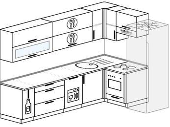 Планировка угловой кухни 7,0 м², 260 на 160 см (зеркальный проект): верхние модули 72 см, корзина-бутылочница, посудомоечная машина, встроенный духовой шкаф, холодильник