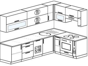 Планировка угловой кухни 7,0 м², 260 на 160 см (зеркальный проект): верхние модули 72 см, посудомоечная машина, встроенный духовой шкаф, корзина-бутылочница