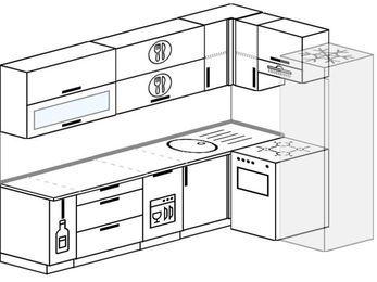 Планировка угловой кухни 7,0 м², 260 на 160 см (зеркальный проект): верхние модули 72 см, корзина-бутылочница, посудомоечная машина, отдельно стоящая плита, холодильник