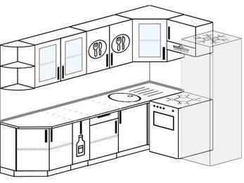 Планировка угловой кухни 7,0 м², 260 на 160 см (зеркальный проект): верхние модули 72 см, корзина-бутылочница, отдельно стоящая плита, холодильник