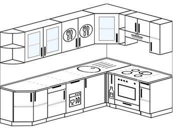 Планировка угловой кухни 7,0 м², 260 на 160 см (зеркальный проект): верхние модули 72 см, посудомоечная машина, корзина-бутылочница, встроенный духовой шкаф