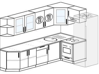 Планировка угловой кухни 7,0 м², 260 на 160 см (зеркальный проект): верхние модули 72 см, встроенный духовой шкаф, холодильник