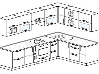Планировка угловой кухни 7,0 м², 2600 на 1800 мм: верхние модули 720 мм, корзина-бутылочница, встроенный духовой шкаф, модуль под свч