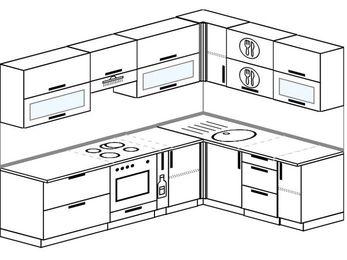 Планировка угловой кухни 7,0 м², 2600 на 1800 мм: верхние модули 720 мм, встроенный духовой шкаф, корзина-бутылочница
