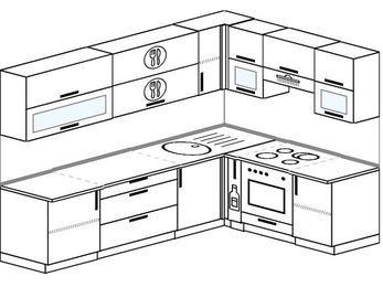 Планировка угловой кухни 7,0 м², 2600 на 1800 мм (зеркальный проект): верхние модули 720 мм, корзина-бутылочница, встроенный духовой шкаф