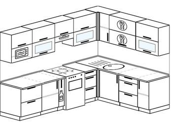 Планировка угловой кухни 7,2 м², 2600 на 1900 мм: верхние модули 720 мм, корзина-бутылочница, отдельно стоящая плита, модуль под свч