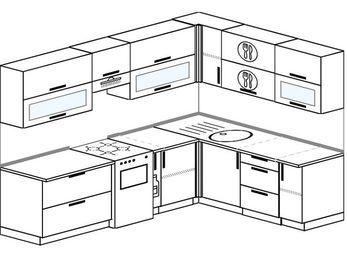 Планировка угловой кухни 7,2 м², 2600 на 1900 мм: верхние модули 720 мм, отдельно стоящая плита, корзина-бутылочница