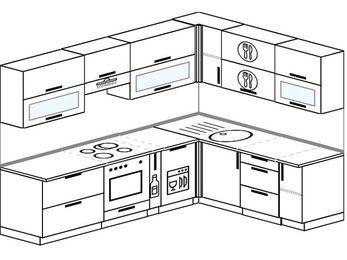 Планировка угловой кухни 7,2 м², 2600 на 1900 мм: верхние модули 720 мм, встроенный духовой шкаф, корзина-бутылочница, посудомоечная машина