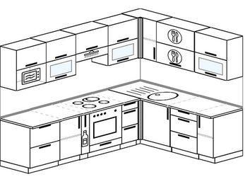 Планировка угловой кухни 7,2 м², 2600 на 1900 мм: верхние модули 720 мм, корзина-бутылочница, встроенный духовой шкаф, модуль под свч