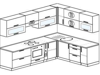 Планировка угловой кухни 7,2 м², 2600 на 1900 мм: верхние модули 720 мм, встроенный духовой шкаф, корзина-бутылочница