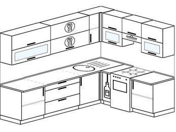 Планировка угловой кухни 7,0 м², 2600 на 1900 мм (зеркальный проект): верхние модули 720 мм, корзина-бутылочница, отдельно стоящая плита