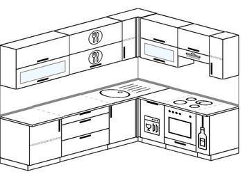 Планировка угловой кухни 7,0 м², 2600 на 1900 мм (зеркальный проект): верхние модули 720 мм, посудомоечная машина, встроенный духовой шкаф, корзина-бутылочница