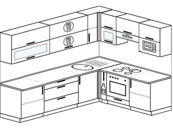 Планировка угловой кухни 7,0 м², 2600 на 1900 мм (зеркальный проект): верхние модули 720 мм, корзина-бутылочница, встроенный духовой шкаф, верхний витринный модуль под свч