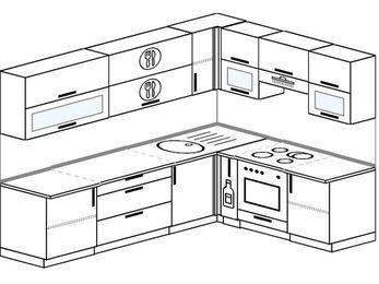 Планировка угловой кухни 7,0 м², 2600 на 1900 мм (зеркальный проект): верхние модули 720 мм, корзина-бутылочница, встроенный духовой шкаф