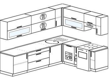 Планировка угловой кухни 7,0 м², 2600 на 1900 мм (зеркальный проект): верхние модули 720 мм, посудомоечная машина, корзина-бутылочница, отдельно стоящая плита
