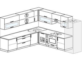 Планировка угловой кухни 10,1 м², 260 на 290 см (зеркальный проект): верхние модули 72 см, посудомоечная машина, корзина-бутылочница, встроенный духовой шкаф, холодильник