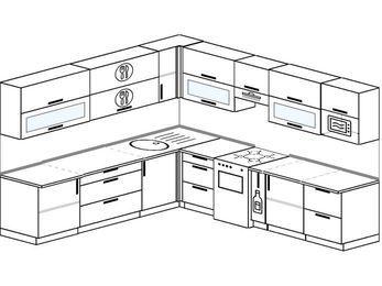 Планировка угловой кухни 10,1 м², 2600 на 2900 мм (зеркальный проект): верхние модули 720 мм, отдельно стоящая плита, корзина-бутылочница, модуль под свч