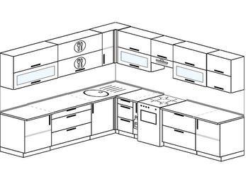 Планировка угловой кухни 10,1 м², 260 на 290 см (зеркальный проект): верхние модули 72 см, корзина-бутылочница, отдельно стоящая плита