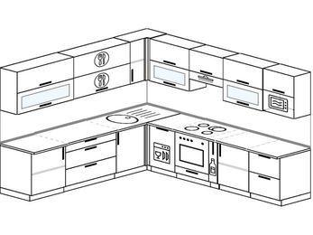 Планировка угловой кухни 10,1 м², 2600 на 2900 мм (зеркальный проект): верхние модули 720 мм, посудомоечная машина, встроенный духовой шкаф, корзина-бутылочница, модуль под свч