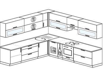 Планировка угловой кухни 10,1 м², 260 на 290 см (зеркальный проект): верхние модули 72 см, посудомоечная машина, корзина-бутылочница, встроенный духовой шкаф