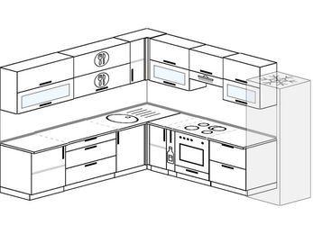 Планировка угловой кухни 10,1 м², 260 на 290 см (зеркальный проект): верхние модули 72 см, корзина-бутылочница, встроенный духовой шкаф, холодильник