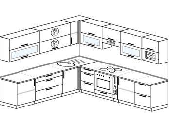 Планировка угловой кухни 10,1 м², 260 на 290 см (зеркальный проект): верхние модули 72 см, встроенный духовой шкаф, корзина-бутылочница, модуль под свч