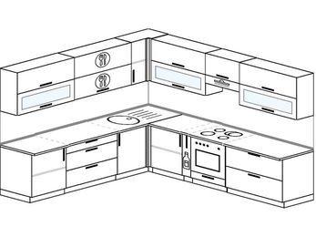 Планировка угловой кухни 10,1 м², 260 на 290 см (зеркальный проект): верхние модули 72 см, корзина-бутылочница, встроенный духовой шкаф