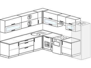 Планировка угловой кухни 10,1 м², 2600 на 2900 мм (зеркальный проект): верхние модули 720 мм, посудомоечная машина, корзина-бутылочница, отдельно стоящая плита, холодильник