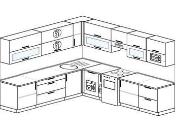Планировка угловой кухни 10,1 м², 260 на 290 см (зеркальный проект): верхние модули 72 см, посудомоечная машина, корзина-бутылочница, отдельно стоящая плита, модуль под свч